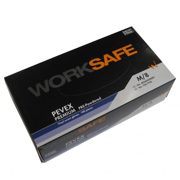 WorkSafe gloves, vinyl, 100 pcs, M size