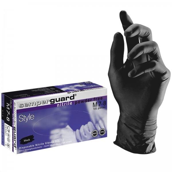 Semperguard black nitrile powder free gloves, 100 pcs